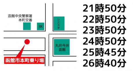 深夜乗合タクシー 函館市本町乗り場